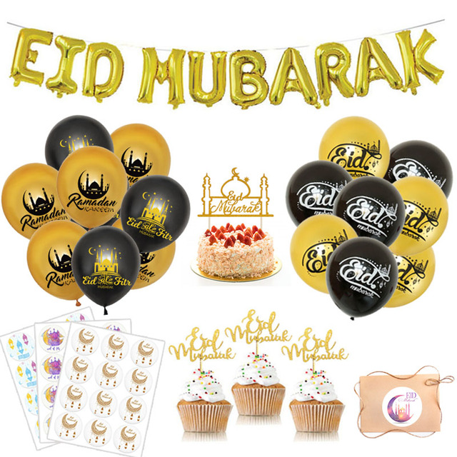 Eid Mubarak Balloons Ramadan Kareem New Year Islamic Muslim Decoration Letter Banner  Paper Gift Stickers Backdrop Home Decor
