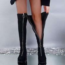 Flock Zipper Front Knee-High Long Boots Women Winter Over Knee Pandent Keep Warm Fretwork Heels sexy Ladies Boots botas mujer(China)