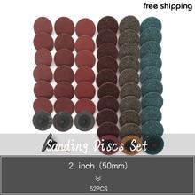 "52Pc Sanding Discs Set,2"" Inch Mix Roloc Quick Change Sanding Disc Roll Lock Surface Polishing Pad"