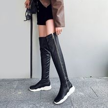 Fashion Over The Knee Long Thigh High Boots White Black Side Zipper Wedges Winter Shoes Women Knight Tall Boots Female(China)