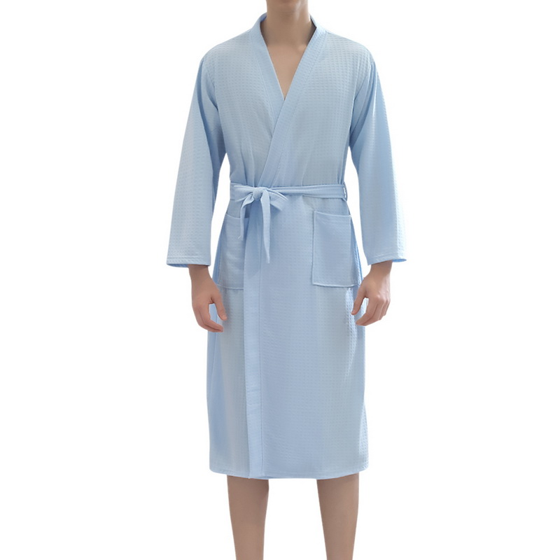 CYSINCOS  Thin Summer Kimono Fashion Robe Men Women Sexy Bathrobe Waffle Robes Soft Peignoir Homme Badjas Sleep Lounge Sleepwear
