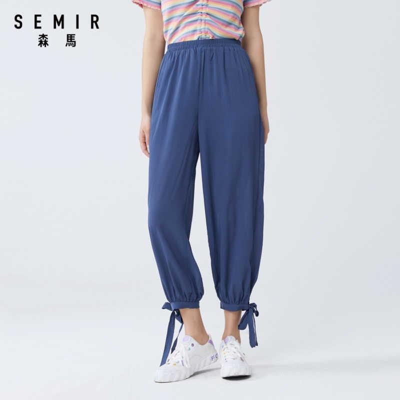 Semir Pantalones Informales Para Mujer Bowknot 2020 Novedad De Verano Diseno Moda Pantalones De Tela Sueltos Y Comodos Pantalones Y Pantalones Capri Aliexpress