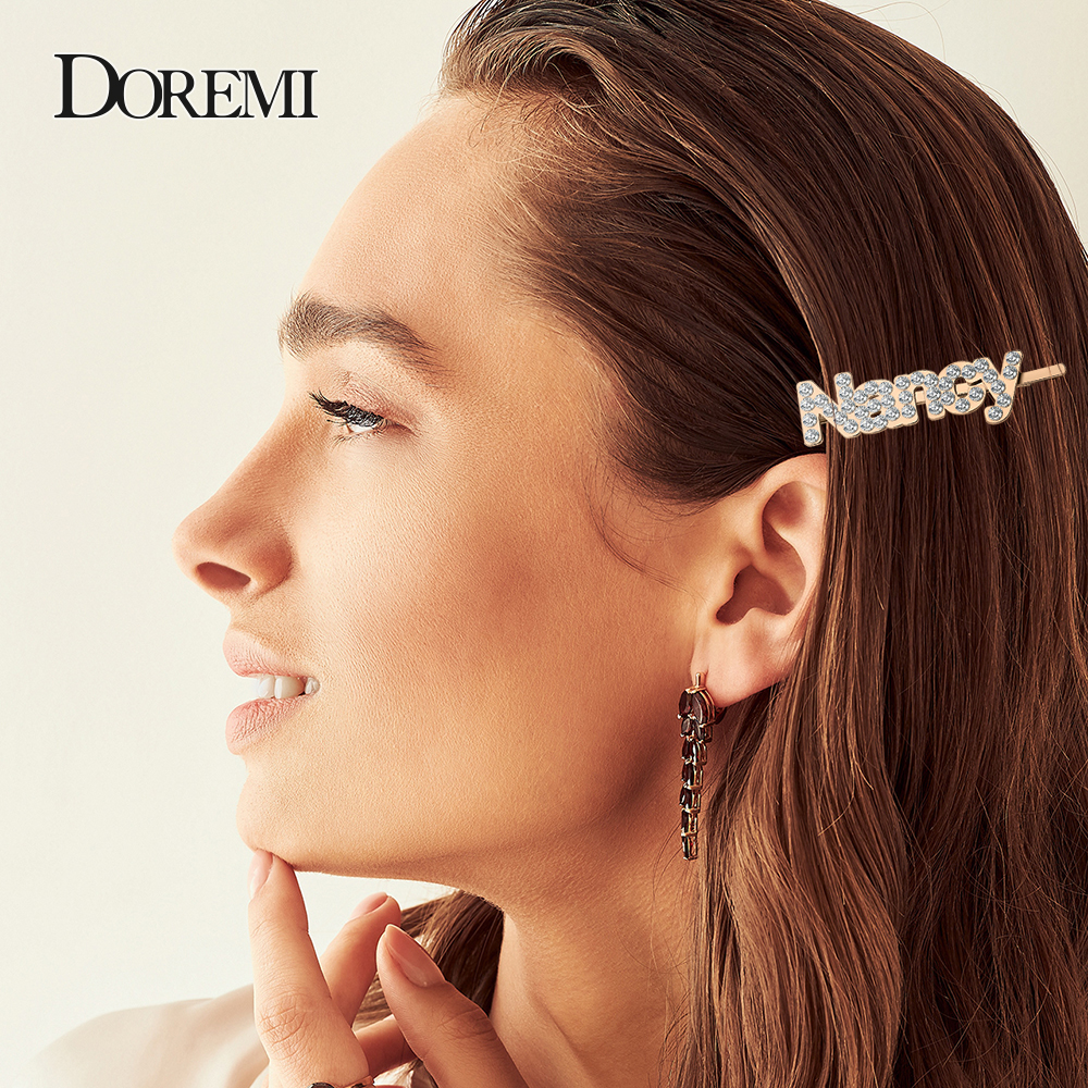 DOREMI Crystal Custom Hairpins Letter Shining Shiny 1Pc Rhinestones Letters Hair Clips Women Styling Tool Hairgrip Hair Acces