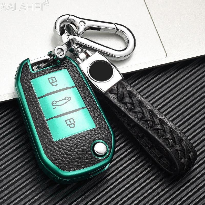 Новое поступление, чехол для автомобильного складного ключа из кожи и ТПУ, чехол с полным покрытием для Peugeot 208 308 508 408 2008 3008 407 307 4008 для Citroen C4
