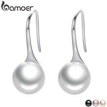 BAMOER 925 Sterling Silber Elegante Runde Reine Liebe Perle Ohrringe für Frauen Schmuck Brincos Weiß, schwarz Lila Rosa SCE037