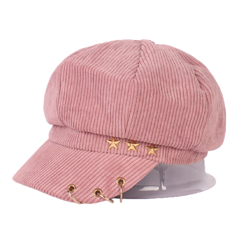 Women Corduroy Ring Peaked Cap Autumn Vintage Literary Solid Five-Pointed Star Winter Octagonal Cap Lady Casual Fashion Warm Hat