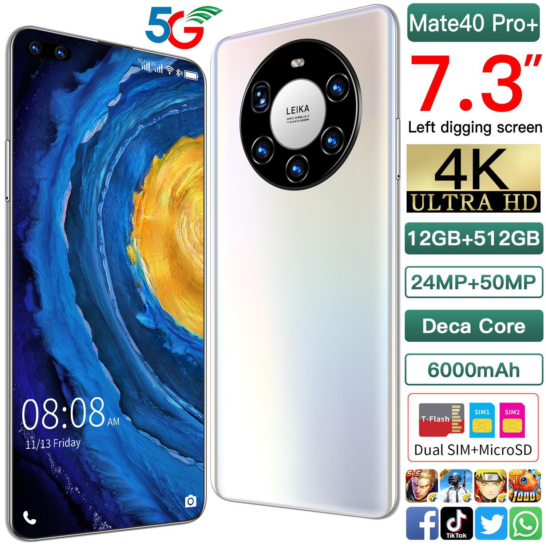 Коврики 40 Pro смартфон 12 ГБ 512 Коврики 40 глобальная Версия Телефона 7,3 дюймов Большой экран 6000 мА/ч, 4G LTE сети мобильный телефон