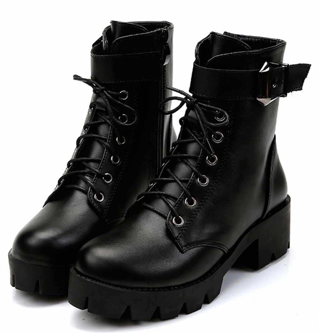 Bayan botları yumuşak deri moda eğlence dantel-up fermuar Martin çizmeler tıknaz kare topuklu kısa çizmeler kadın kış 2019