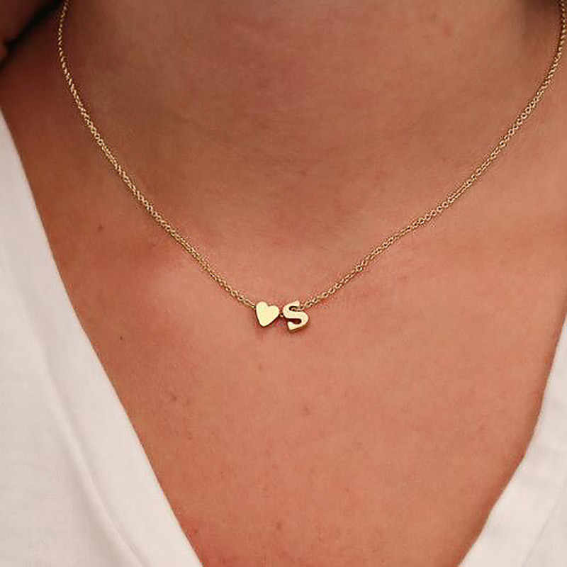 Fashion Tiny Peach Heart Letter Necklace Initial Personalized Letter Name Choker Necklace For Women Pendant Jewelry Wholesale
