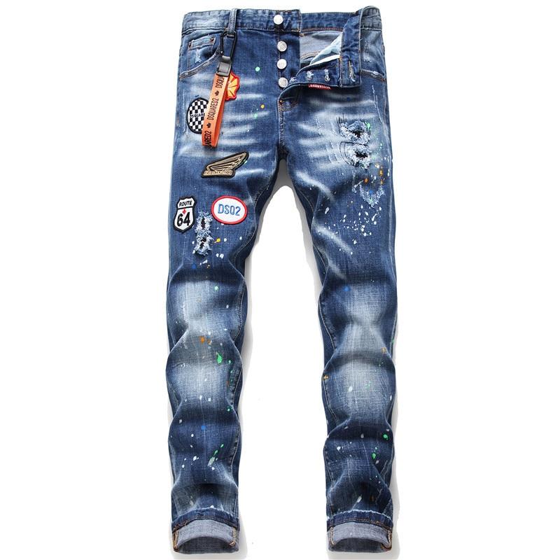 European American Fashion Brand jeans Men slim jeans pants mens denim trousers zipper blue hole Pencil Pants jeans for men