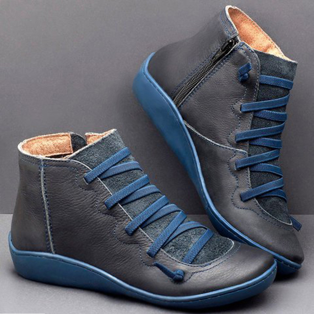 2020 New Women's Casual Flat Leather Retro Lace up Boots Side Zipper Round Toe Shoe Leather Ankle Boots Zapatos Mujer Wram Botas