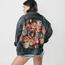 YAMDI Denim female jacket 2020 spring winter floral appliques Embroidery vintage