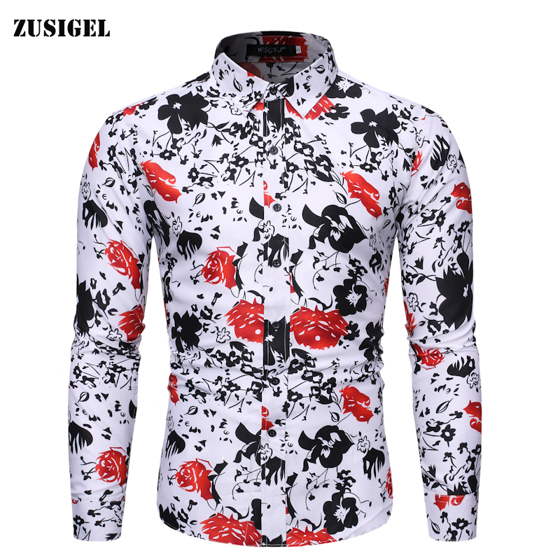 ZUSIGEL 2019 Four Seasons Floral Print Shirt Men Casual Long Sleeve Slim Fit Shirt Turn-down Collar Cotton White Shirt Man