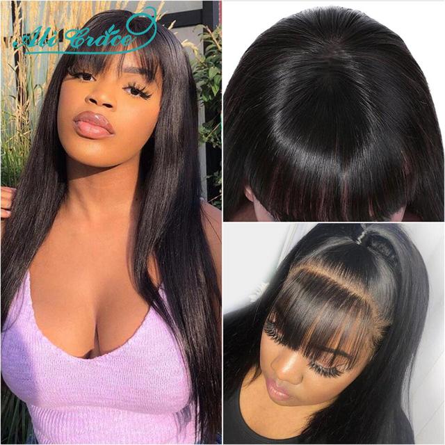 "Ali Grace Wigs Cheap Brazilian Straight Hair Wigs with Hair Bangs 10-26""Hair Wigs Full Machine Made Human Hair Wigs for Women"