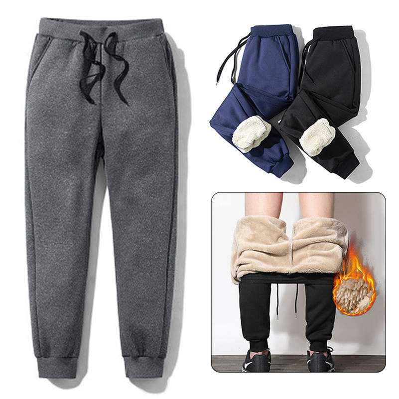 Mens Thick Fleece Thermal Trousers Outdoor Winter Warm Casual Pants Joggers Streetwear Sweat Pants Plus Size 2019