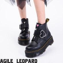 Fashion Female Lolita Cute Women's Pumps Platform Wedges High Heels Pumps Sweet Gothic Cosplay Shoes Woman Heart Buckle Boots