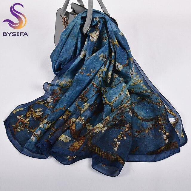 כתום כחול חורף נשים טהור משי צעיף צעיף אביב סתיו אופנה גדול אלגנטי קלאסי ארוך צעיפי כורכת מודפס 180*110cm