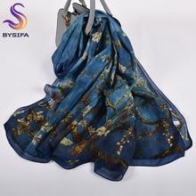 Orange Blue Winter Women Pure Silk Scarf Shawl Spring Fall Fashion Large Elegant Classical Long Scarves Wraps Printed 180*110cm