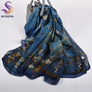 Image 1 - Turuncu mavi kış kadın saf ipek eşarp şal ilkbahar sonbahar moda büyük zarif klasik uzun eşarp sarar baskılı 180*110cm