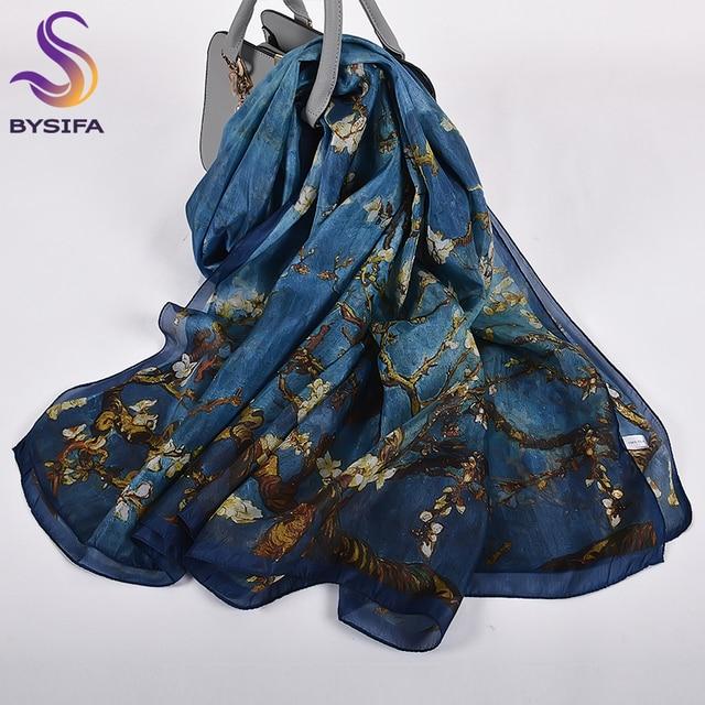 Turuncu mavi kış kadın saf ipek eşarp şal ilkbahar sonbahar moda büyük zarif klasik uzun eşarp sarar baskılı 180*110cm