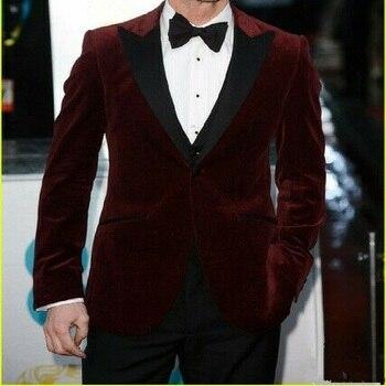 Attractive One Button Groom Tuxedos Best Man Suit Peaked Lapel Wine Red Velvet Coat Groomsman Men Jacekt & Pants