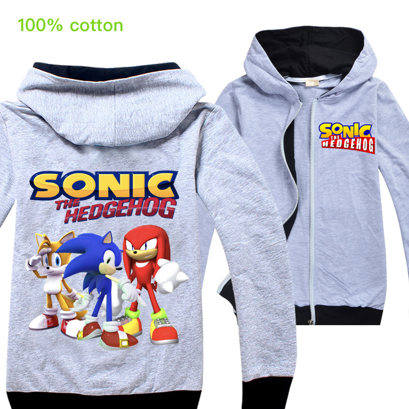 Kids Baby Boys Hoodies Tops Autumn Winter Children Sonic The Hedgehog Sweatshirts Toddler Zip Hooded Clothes Child Outerwear Top
