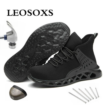 Leoxose Mens Steel Toe Work Safety Shoes Steel Toe Cap Safety Protective Shoes New Design Short Boots Construction Shoes Casual