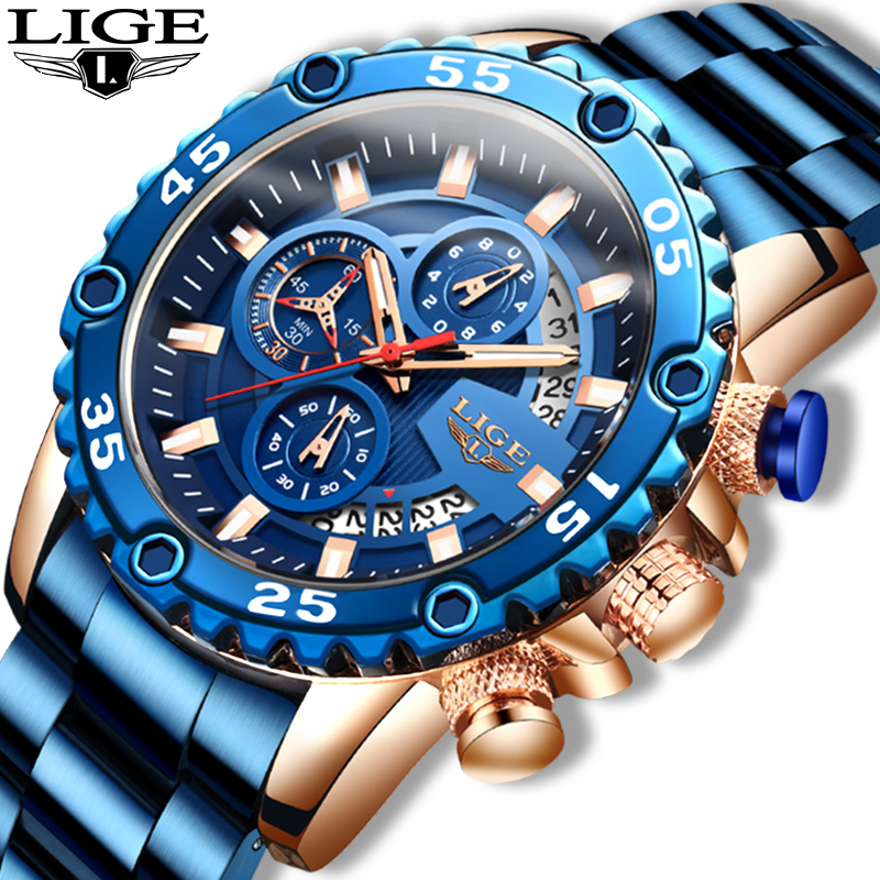 New 2020 Waterproof Men's Watches LIGE Top Brand Luxury Watch Men All Steel Big Dial Calendar Sport Wristwatch Male Chronograph