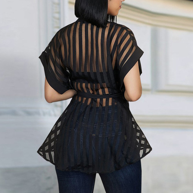 #Z30 See-through Womens Mesh Blouse Shirt Summer See Belt Striped Peplum Tops Elegant Streetwear Sexy Classy Party Blouses 3