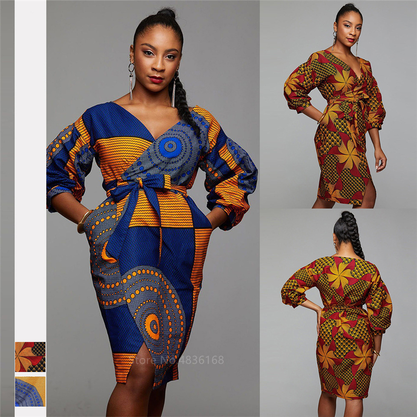 2019 Autumn African Dresses For Women Dashiki Print Ladies Clothes Cardigan Fashion Full Lantern Sleeve Bazin Vestido Ankara