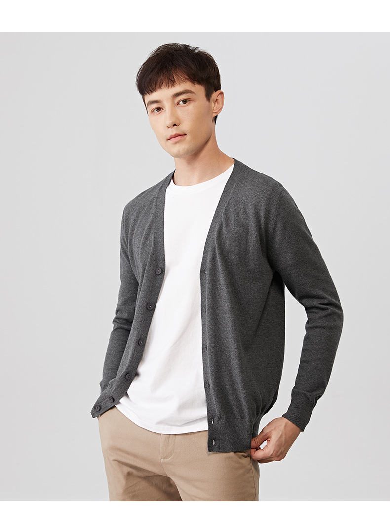 2019 Autumn Men Cardigans Male Sweater Fall Thin Cotton Knited V-Neck Sweater Men Spring Solid Cardigan Korean Style Brand Muls 04