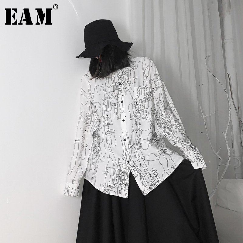 [EAM] Women Pattern Print Big Size Long Blouse New Lapel Long Sleeve Loose Fit Shirt Fashion Tide Spring Autumn 2020 19A-a641