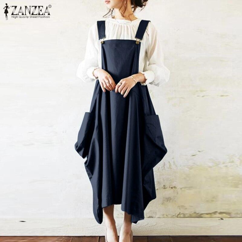 Women's Dungarees Overalls Dress Summer Sundress ZANZEA 2021 Fashion Casual Button Midi Vestidos Female Solid Robe Plus Size 7