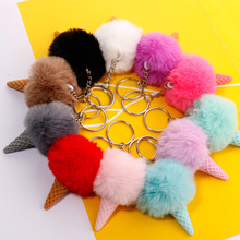 Lovely Ice-cream Rainbow Fluffy Bunny Keychain For Women Bag Car Keyring Chaveiro Fake Fur