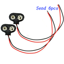6 Pcs Snap Snap On 9V (9 Volt) Battery Clip Connector T Type Black Battery Buckle Holder Clip