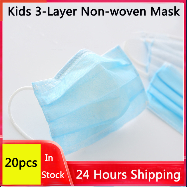 20Pcs Kids Disposable mask 3-Layer Non-woven Disposable Soft Breathable Flu Hygiene Face Mask for Children Mask