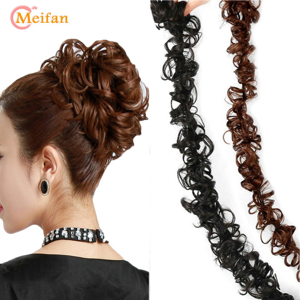 MEIFAN Short Curly Chignon Hair Bun Elastic Rubber Band Drawstring Updo Hair Buns Synthetic Wig Clip In Ponytail Hair Extension