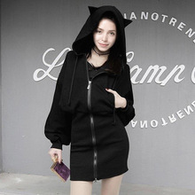 2019 Autumn Winter Women Hooded Sweatshirt Cat Ear O-neck Fashion Cutely Zipper