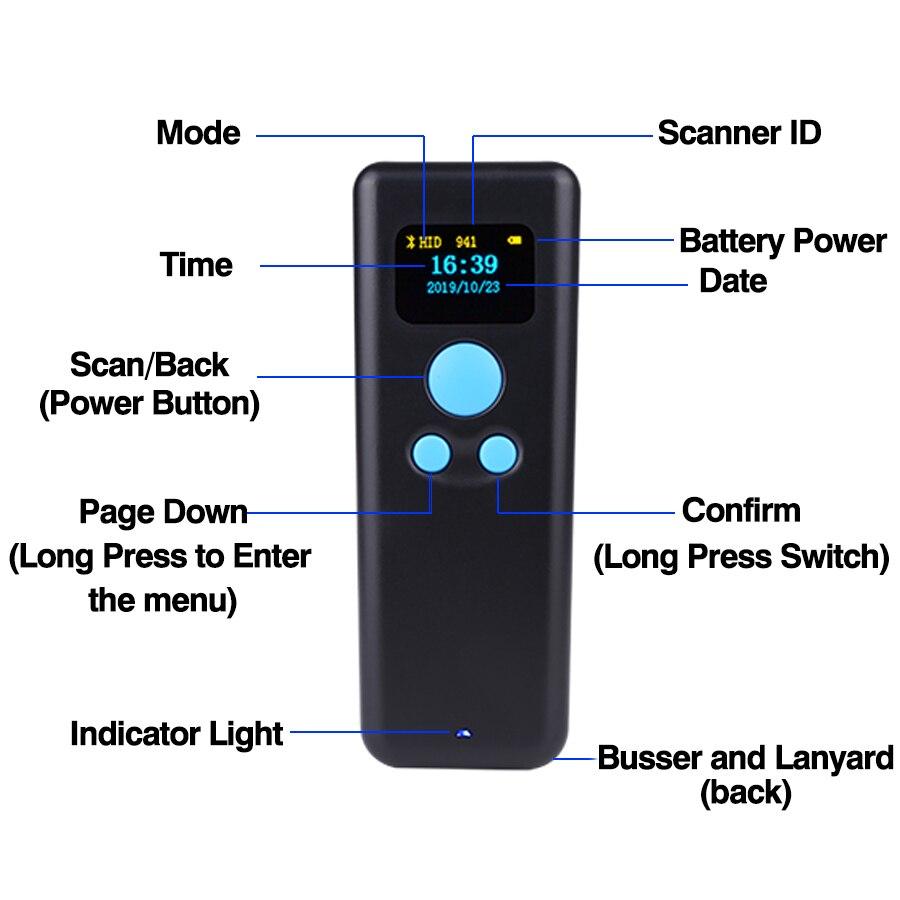 Barcode 2d QR 2,4G bluetooth Tasche mini Scanner bar code reader tragbare scaner wireless smartphone android windows mobile