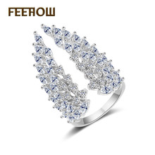 FEEHOW New Fashion Shiny Cubic Zirconia Exaggerated Angel Wings Ring for Bride Bridesmaid Jewelry Wedding Birthday Gift FWRP232