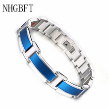 NHGBFT Black Color Anion Magnetic bracelet For Mens Stainless Steel Germanium Element Bracelet decompression anion pu leather non allergy bracelet silver black coppery