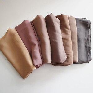 Image 5 - 85*180 Cm Big Size Plain Bubble Chiffon Sjaal Vrouwen Hijab Moslim Sjaals Solid Lange Grote Hoofd Wraps Dames georgette Sjaals