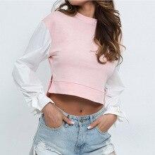 Fashion Stitching Contrast Color Sweatshirt Irregular Slits Exposed Navel Casual Sweatshirt Women недорого
