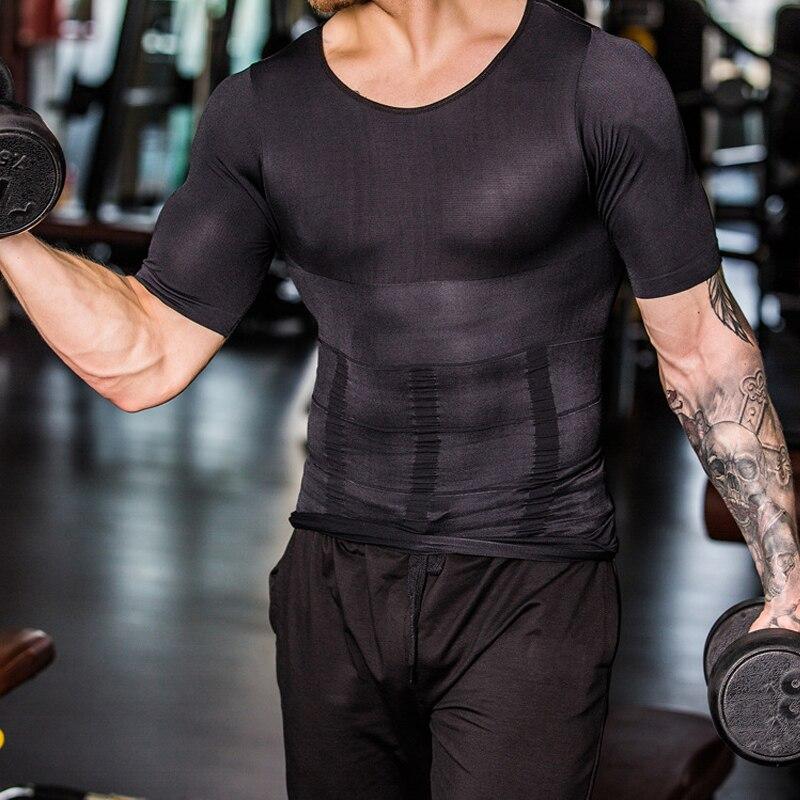2019 männer Körper Shapers Feste Dünne Ärmelloses Shirt Fitness Elastische Schönheit Bauch Tank Tops Form Westen Abnehmen Titten Gym Weste