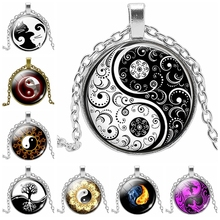 2019 New Hot Black White Gothic Yin and Yang Necklace Glass Convex Round Pendant Yoga Zen Jewelry Class Wholesale 2019 new creative cartoon yin and yang black and white cat necklace gift glass convex round pendant necklace fashion jewelry