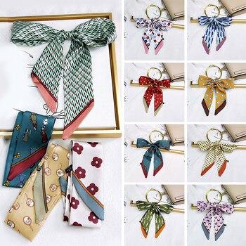 Womens Fashion Silk Scarves Headband Neckerchief Waistband Long Scarf Bag Ribbon