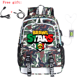 Brawling Backpack Stars Leon Game Bag Travel Backpack USB Charging Backpack With Headphones Hole Waterproof Student Bag Toys