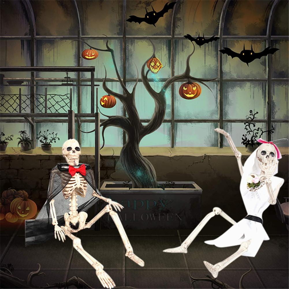 Terrible Lifelike Human Bones <font><b>Poseable</b></font> <font><b>Skeleton</b></font> Figure With Movable Joints Haunted House Props For Halloween Party Decoration image