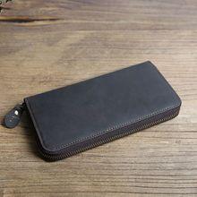 Men's Leather Wallet ID Card Holder Business Long Clutch Billfold Money Purse Zipper Bag men wallet leather credit card photo holder billfold purse business clutch dec07