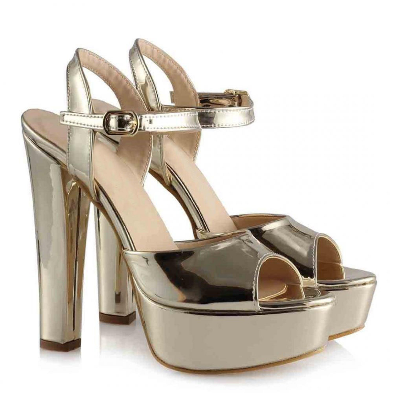 Mst-1027 or miroir femmes élégant bout pointu talons hauts chaussures de mariage cristal clair talons Slingback 35-40